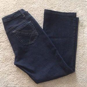 CAbi Indigo Blue Denim Boot Cut Mid Rise Jeans